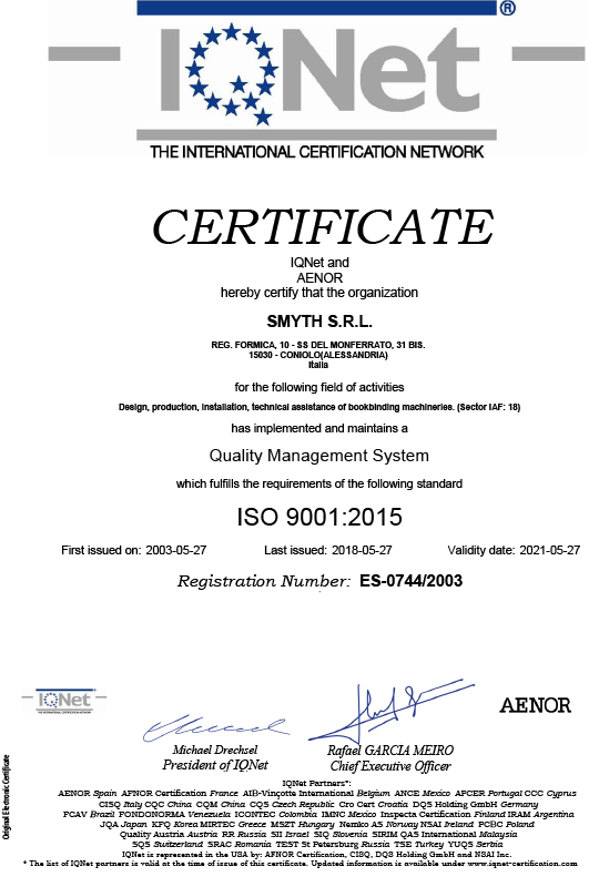 Smyth S r l  achieved the renewal of the ISO 9001:2015